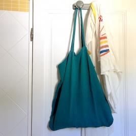Shopping or laundry bag-aqua