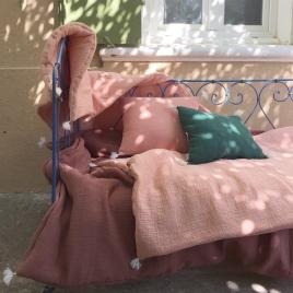 Petit plaid 65x125 cm molletonne banquette ou lit bebe blush