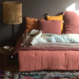Couverture de sofa  Indigo tons clairs 130x60 cm Collab' Annabel Kern x Atelier Simone