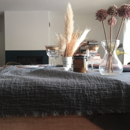 Table Cloth Boho 145x250 cm Charbon