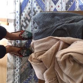 Cheche mousseline de coton Nomade hand Dyed Charbon