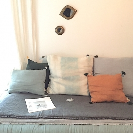 Removable pillow Indigo light 60x50 cm Collab' Annabel Kern x Atelier Simone