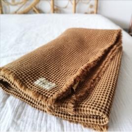 Drap de bain nid d'abeille 100x140 cm Honey Noisette