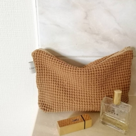 Pochette nid d'abeille lavé Honey Noisette