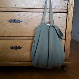 Large shopping bag Boho Sauge