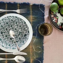 Duo de set de table Tie & Dye Indigo Noisette * collab' Atelier Simone & Annabel Kern
