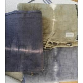 Drap de coton Tie & Dye Christmas collab Atelier Simone x Annabel Kern Indigo*Noisette