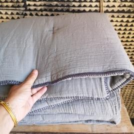 Quilted plaid Craie écume 140x100cm