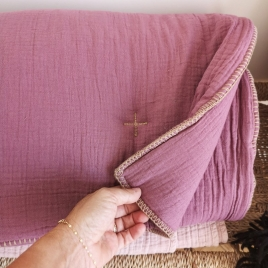 Quilted plaid Craie lilas 140x100cm