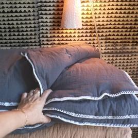 Quilted plaid Craie charbon 140x100cm