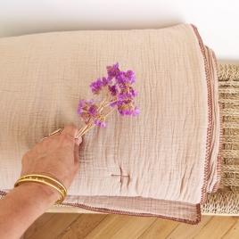 Couverture quiltée bout de lit  Craie moka 140x200cm