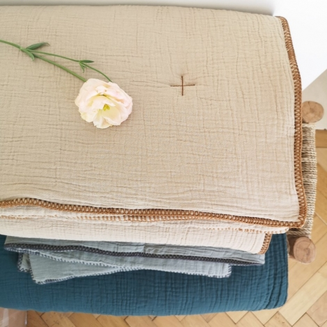 Quilted cover Craie houblon 140x200cm