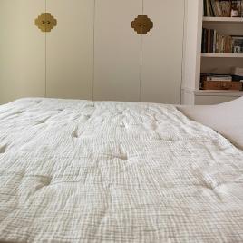 Couverture quiltée molletonnée Craie écru 140x200cm